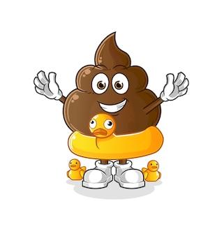 La cacca con la mascotte dei cartoni animati di anatra boa. mascotte mascotte dei cartoni animati
