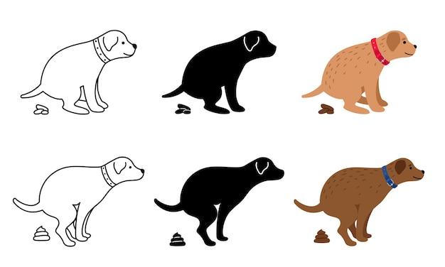 Illustrazione del cane che fa la cacca. clipart di cacca di cani, feci di animali domestici e sagome di cane isolate su bianco