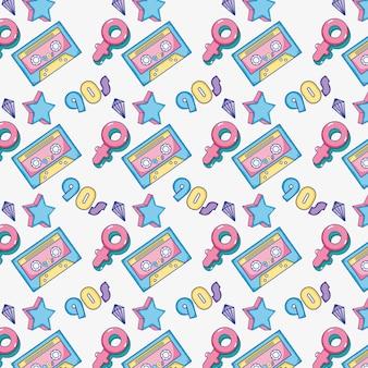 Cassette di sfondo pop art e simboli femminili