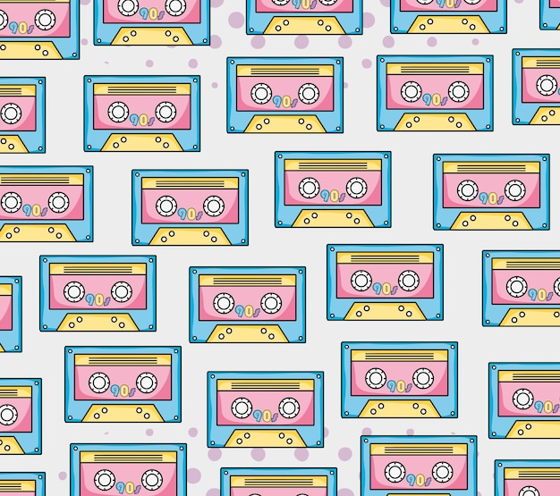 Cassette colorate di sfondo pop art