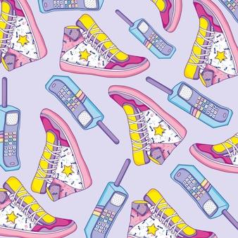 Scarpe e telefoni cellulari di sfondo pop art