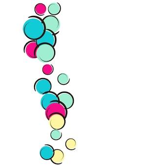 Sfondo pop art con coriandoli a pois comici. grandi macchie colorate, spirali e cerchi su bianco. illustrazione vettoriale. splatter luminoso per bambini per la festa di compleanno. priorità bassa di arte di schiocco dell'arcobaleno.