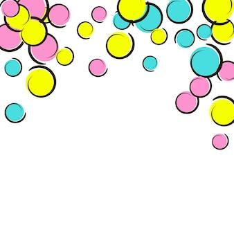 Sfondo pop art con coriandoli a pois comici. grandi macchie colorate, spirali e cerchi su bianco. illustrazione vettoriale. splash infantile colorato per la festa di compleanno. priorità bassa di arte di schiocco dell'arcobaleno.