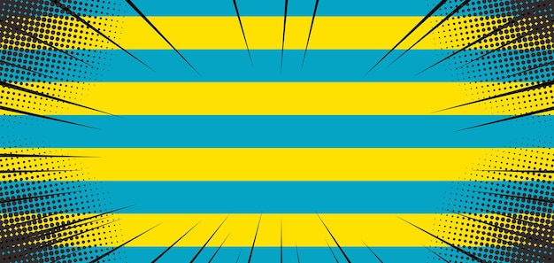 Sfondo pop art con linea gialla e blu