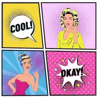 Pop art bella donna ammiccante e mostrando segno ok. ragazza gioiosa che mostra pollice in su. poster vintage con fumetto comico. pin up banner cartello pubblicitario.