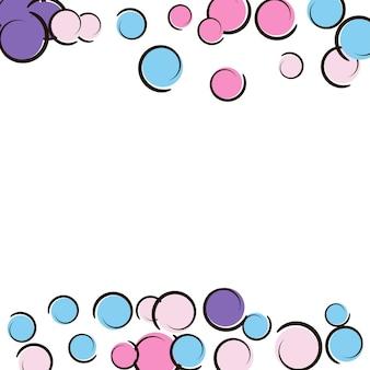 Bordo pop art con coriandoli a pois comici. grandi macchie colorate, spirali e cerchi su bianco. illustrazione vettoriale. splash infantile colorato per la festa di compleanno. bordo pop art arcobaleno.