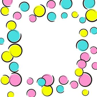 Bordo pop art con coriandoli a pois comici. grandi macchie colorate, spirali e cerchi su bianco. illustrazione vettoriale. splash infantile vibrante per la festa di compleanno. bordo pop art arcobaleno.