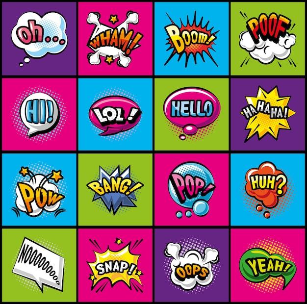 Bolle di pop art progettazione dettagliata della raccolta delle icone di stile del fumetto di espressione retrò