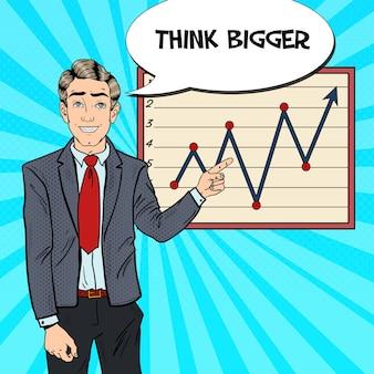 Pop art business man indicando il grafico di crescita. presentazione aziendale.