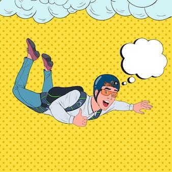 Uomo d'affari di pop art che vola con il paracadute