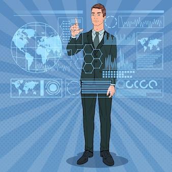 Uomo d'affari di pop art utilizzando l'interfaccia olografica virtuale. touchscreen tecnologico futuristico.
