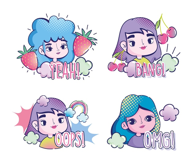 Pop art cartoon ragazze frutta nuvole arcobaleno comico halftone lettering icone