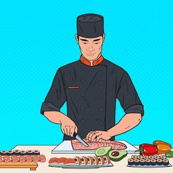 Chef di pop art che prepara sushi nel ristorante giapponese.