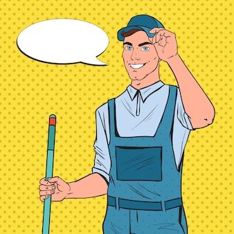 Pop art cleaner in uniforme con mop