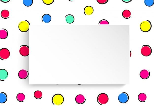Sfondo di coriandoli colorati pop art. grandi punti colorati e cerchi su sfondo bianco con punti neri e linee di inchiostro. banner con piatto di carta 3d in stile pop art.