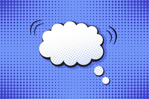Sfondo comico pop art. punteggiato di mezzitoni con nuvoletta. stampa cartone animato blu