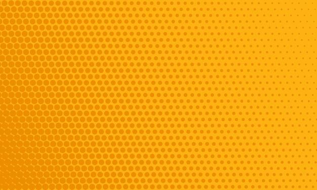 Modello comico pop art. sfondo punteggiato di mezzitoni con punti. texture arancione con cerchi. stampa dell'annata del fumetto. banner bicolore geometrico. trama divertente del supereroe