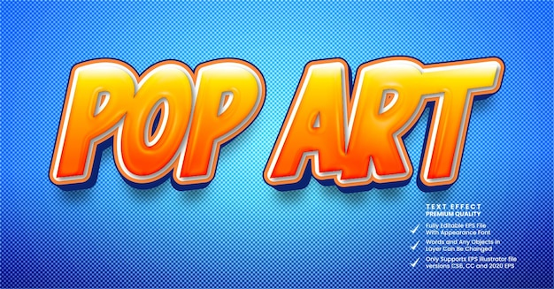 Effetto testo 3d in stile fumetto pop art