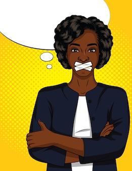 Donna in stile fumetto pop art con la bocca sigillata.