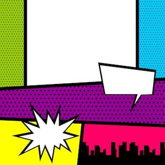 Modello di copertina di una rivista di fumetti pop art cartoon divertente striscia vintage fumetto supereroe text