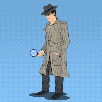 Detective pop art alla ricerca con lente d'ingrandimento