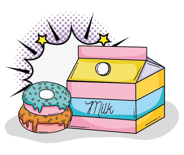 Guarnizioni di gomma piuma di arte di schiocco e progettazione grafica dell'illustrazione di vettore del fumetto della scatola del latte