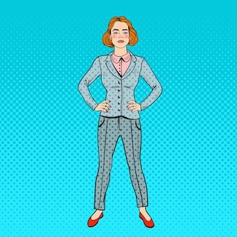 Pop art elegante donna d'affari di successo sicuro.