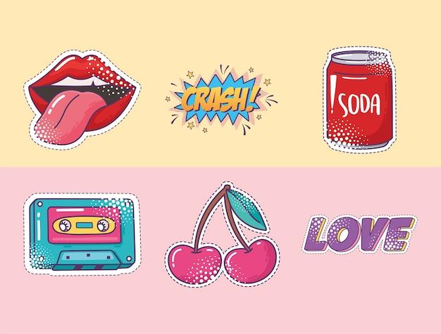 Set di icone adesivo elemento pop art, labbra, soda, cassetta, ciliegia e amore