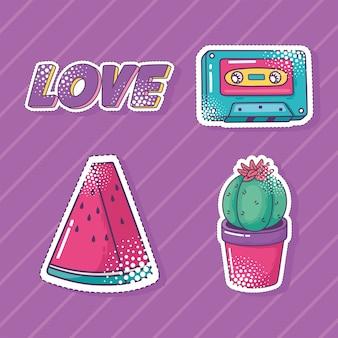 Set di icone di adesivo elemento pop art, anguria, cassetta, cactus e illustrazione di amore