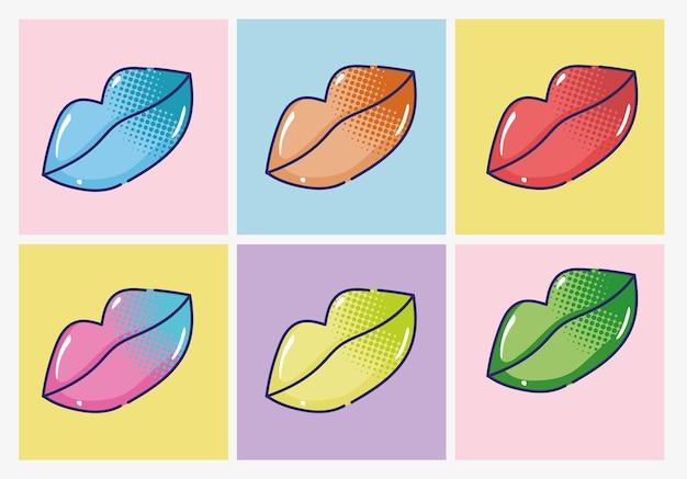 Illustrazione stabilita di semitono delle labbra di lucentezza delle labbra femminili di pop art