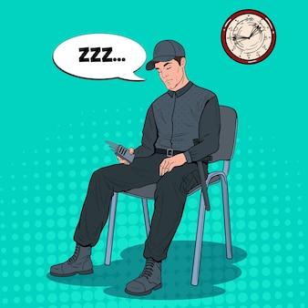 Uomo di guardia di pop art che dorme sul lavoro