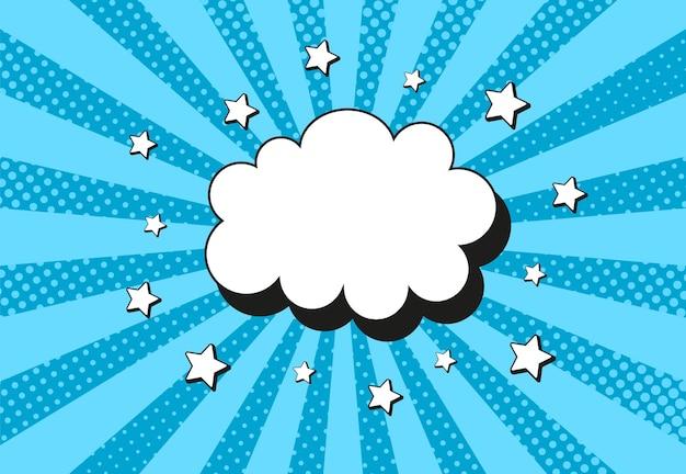 Sfondo mezzitoni pop art. motivo a stella comica. fumetto di struttura blu con punti e raggi. sfondo starburst del supereroe. striscione vintage a due tonalità. design sfumato wow. illustrazione vettoriale.