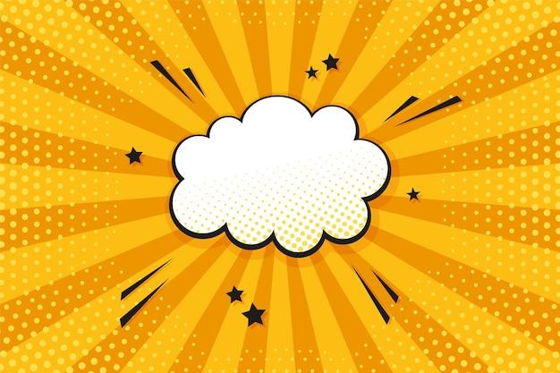 Reticolo di mezzitoni pop art. sfondo di starburst comico. trama bicolore gialla. bandiera del fumetto con nuvoletta, punti e raggi. design vintage da supereroe. wow sfondo stellato