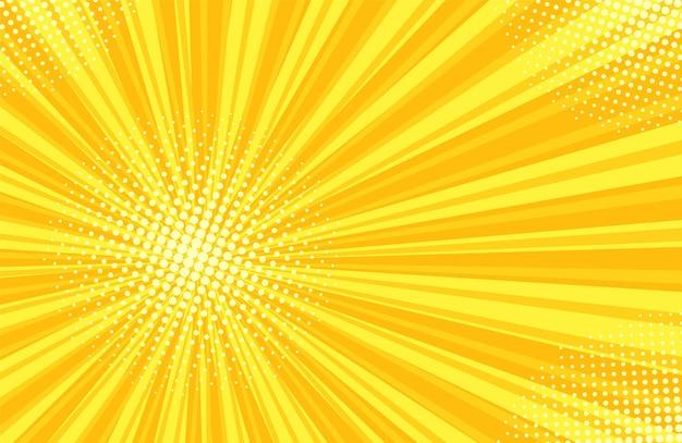 Reticolo di mezzitoni pop art. sfondo di starburst comico. trama bicolore gialla.