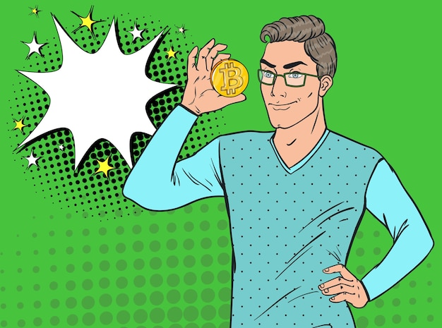 Pop art handsome man holding golden bitcoin coin. crypto valuta concetto. soldi virtuali.