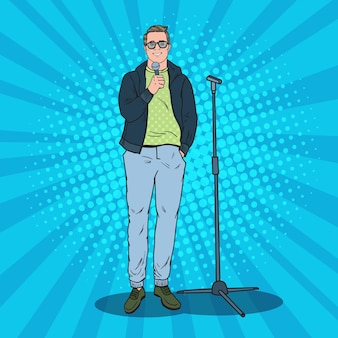 Pop art bell'uomo con microfono