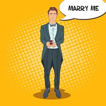 Pop art bell'uomo con anello di nozze
