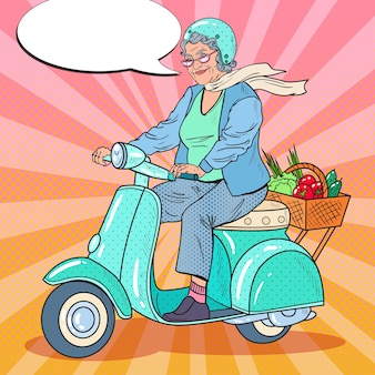 Pop art felice senior woman riding scooter
