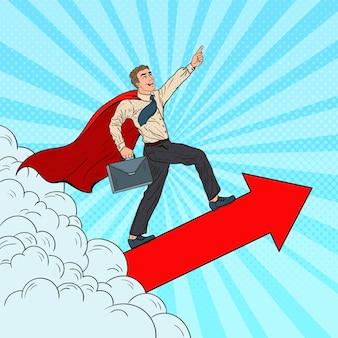 Uomo d'affari eccellente dell'eroe di pop art che vola attraverso le nuvole. leadership nella motivazione aziendale.