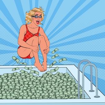 Donna allegra di pop art che salta alla piscina di soldi. donna d'affari di successo. successo finanziario, concetto di ricchezza.