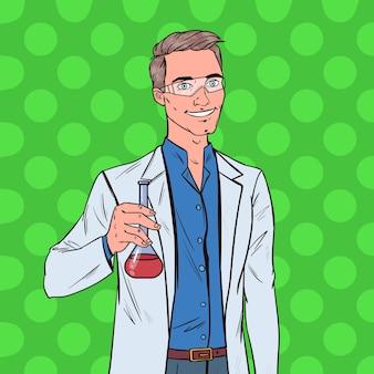 Scienziato dell'uomo di pop art con la boccetta. ricercatore di laboratorio maschio. concetto di farmacologia chimica.