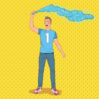 Pop art man soccer fan che celebra la vittoria della squadra preferita