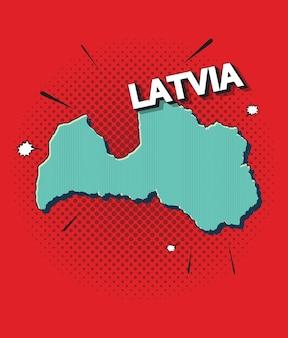 Mappa pop art della lettonia