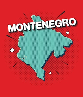 Mappa pop art del montenegro