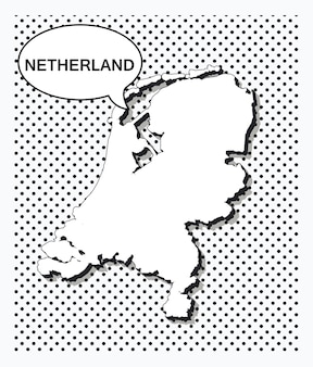 Mappa pop art dei paesi bassi