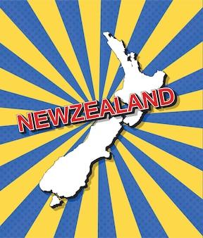 Mappa pop art della nuova zelanda