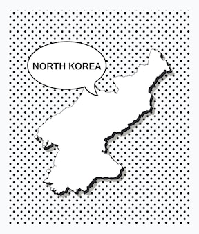 Mappa pop art della corea del nord