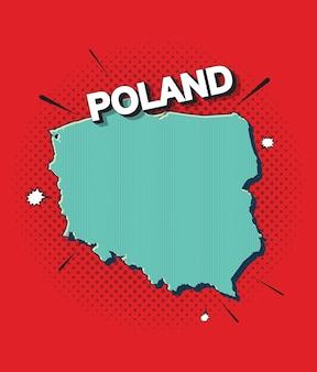 Mappa pop art della polonia