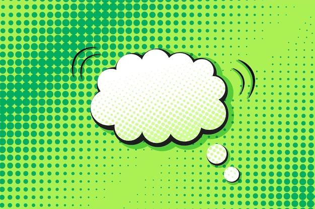 Modello pop art. sfondo comico mezzitoni. trama punteggiata verde con nuvoletta. stampa dei cartoni animati
