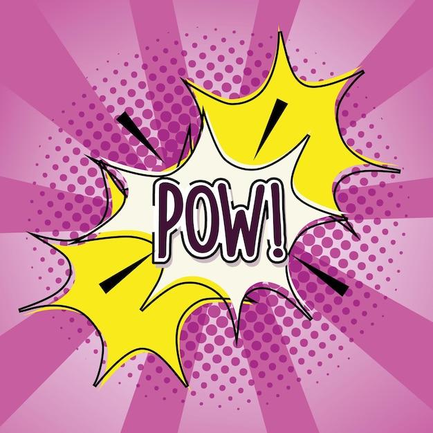 Pop art pow lettering esplosione fumetto mezzitoni e illustrazione dello sfondo sunburst